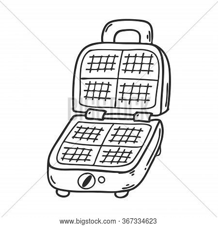 Electric Waffle Iron In Doodle Style. Kitchen Appliances For Cooking Waffles. Design Element For Men
