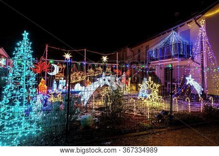 Totally Exaggerated Christmas Lights In The Backyard.