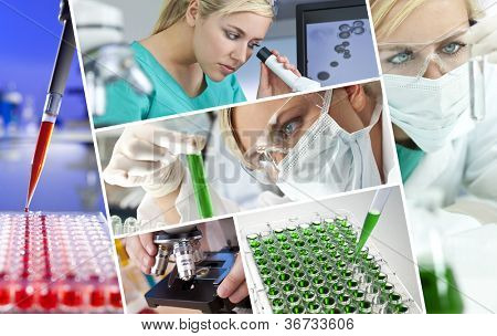 A beautiful young female medical or scientific researcher using her microscope doing scientific research in a Laboratory