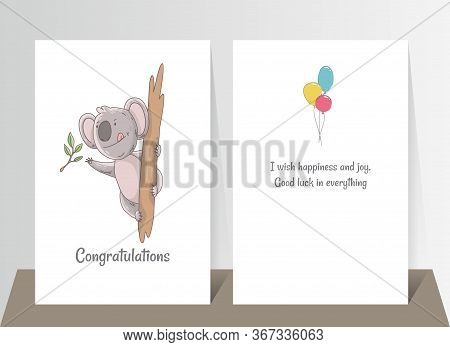 Cute Koala Eating Eucalyptus. Hand Drawn Doodle Poster Template With Airballs. Cute Cartoon Bear Cha