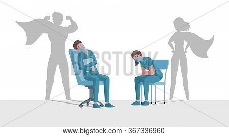 Tired Overworked Doctor And Nurse In Uniform With Superhero Shadows Vector Flat Cartoon Illustration