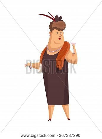 Vector Cartoon Rich People. Image Of A Funny Woman Capitalist In A Black Suit With Fox Fur On His Ne