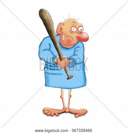Strange Man In A Hospital Shirt And With A Bat. Illustration On A White Background.