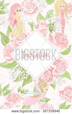 Cards For Wedding Invitation Or Birthday Greeting With Rose Flowers And Pixies