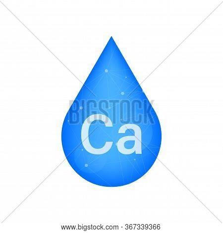 Blue Calcium On White Background. Calcium Mineral. Ca Pill Capsule. Vector Stock Illustration.