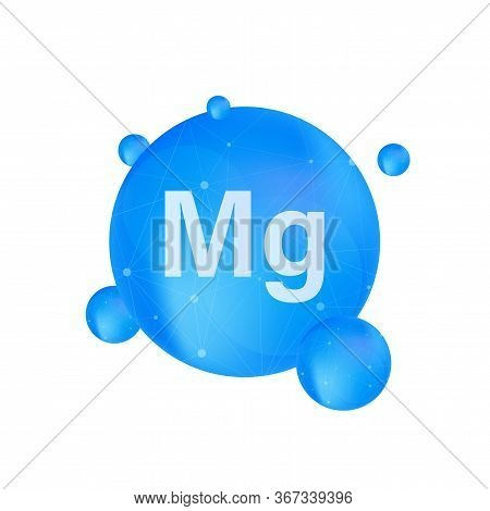 Blue Magnesium On White Background. Magnesium Mineral. Mg Pill Capsule. Vector Stock Illustration.