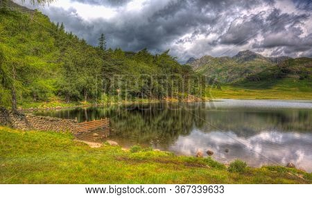 Blea Tarn Between Great Langdale And Little Langdale Lake District Cumbria England Uk In Colourful H