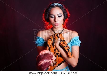Stop Animal Killing Concept - Pretty Girl Show Animal Skin And Raw Meat That She Wants To Tell Someo