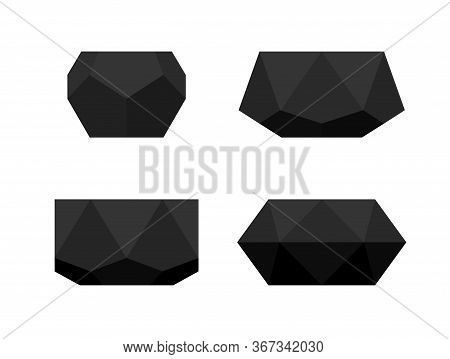 Set Of Black Geometric Flower Pots. Vector Isolated Polyhedron Minimalistic Concrete Planters