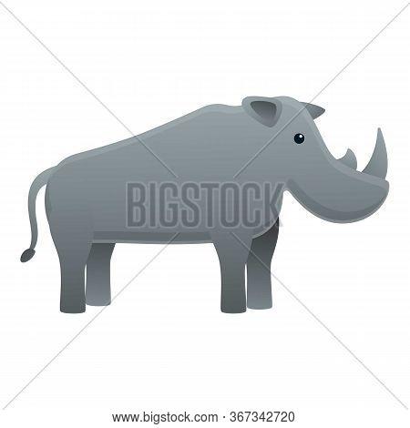 Safari Rhino Icon. Cartoon Of Safari Rhino Vector Icon For Web Design Isolated On White Background