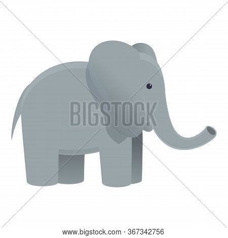 Safari Elephant Icon. Cartoon Of Safari Elephant Vector Icon For Web Design Isolated On White Backgr