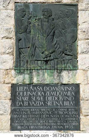 ZELENJAK, CROATIA - OCTOBER 02, 2012: Monument to Croatian national anthem in Zelenjak, Kumrovec, Croatia