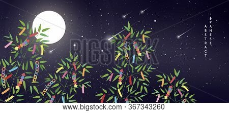 Oriental Japanese Style Abstract Pattern Background Summer Night Starry Sky Meteor Moon And Bamboo B