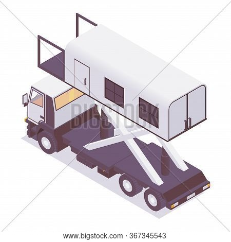 Isometric Ambulance Lift Catering, Back View Isolated On White