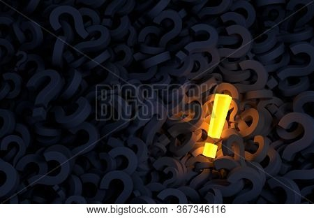 A Bright, Glowing Yellow Exclamation Mark Stands Out In A Dark Field Of Dark Blue Gray Question Mark