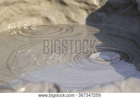 Mud Circles In Mud Volcano In Romania