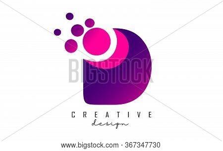 D Dots Letter Logo With Purple Pink Bubbles Vector Illustration. Dots Illustration With D Letter.