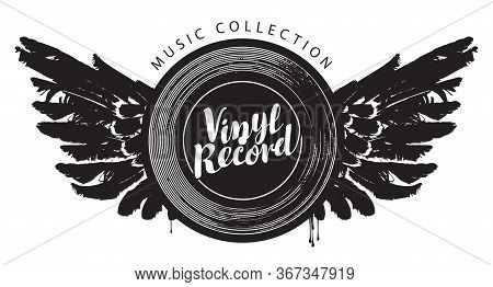 Vector Music Banner With A Winged Vinyl Record. Black And White Illustration With The Words Vinyl Re