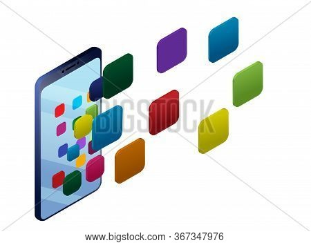Concept Smart Phone Screen With Application Icons. Smart Phone Usability Concept Illustration. Stock