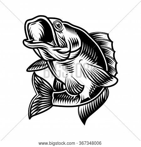 Largemouth Bass Fish Vintage Concept In Monochrome Style Isolated Vector Illustration