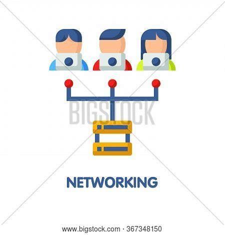 Networking Flat Icon Style Design Illustration On White Background