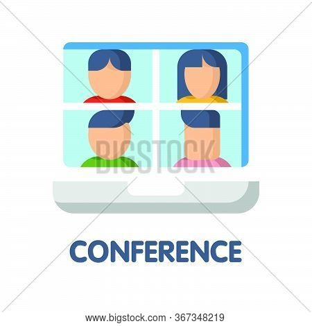 Video Conference Flat Icon Style Design Illustration On White Background