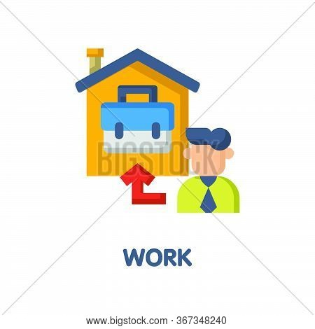 Work At Home Flat Icon Style Design Illustration On White Background