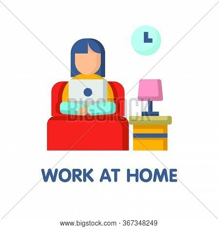 Work At Home On Bed  Flat Icon Style Design Illustration On White Background