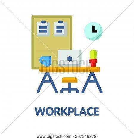 Workplace Flat Icon Style Design Illustration On White Background