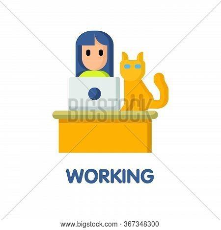 Avatar Woman Working  Flat Icon Style Design Illustration On White Background