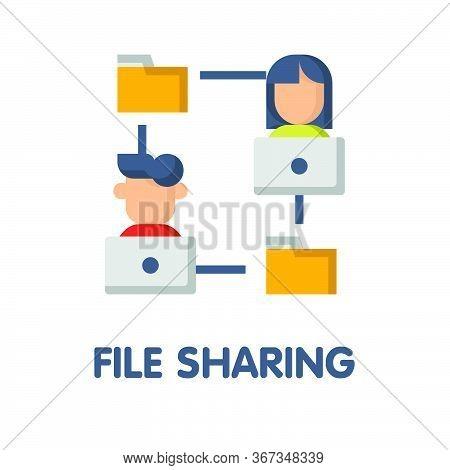File Sharing Flat Icon Style Design Illustration On White Background