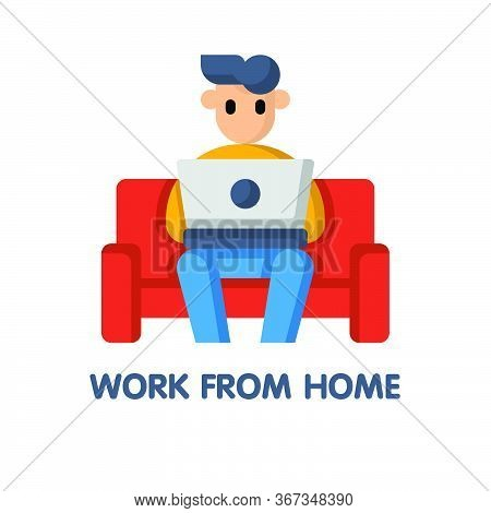 Man Work From Home On Couch  Flat Icon Style Design Illustration On White Background