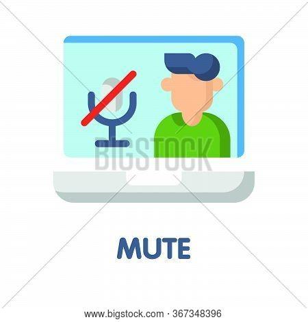Mute Sound Flat Icon Style Design Illustration On White Background