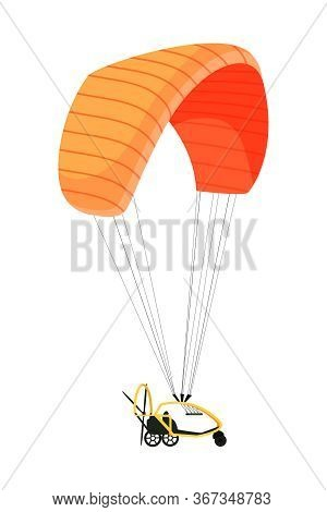 Power Paraglider Flat Vector Illustrations. Ultralight Aircraft With Engine And Parachute Isolated O