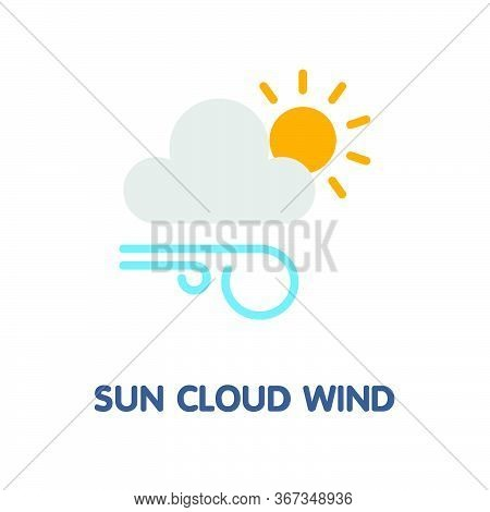 Sun Cloud Wind Flat Icon Design Style Illustration On White Background