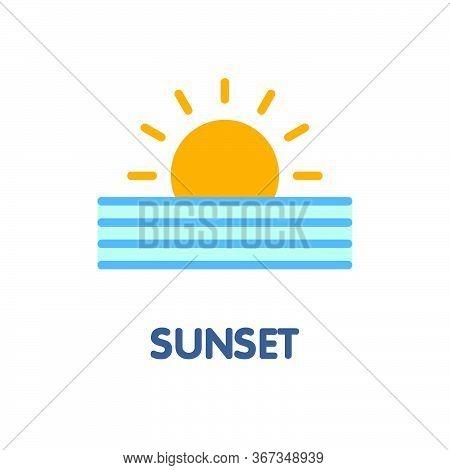 Sunset Flat Icon Design Style Illustration On White Background
