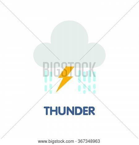 Thunder Flat Icon Design Style Illustration On White Background