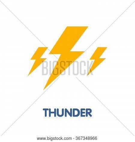 Thunder Lightening Flat Icon Design Style Illustration On White Background