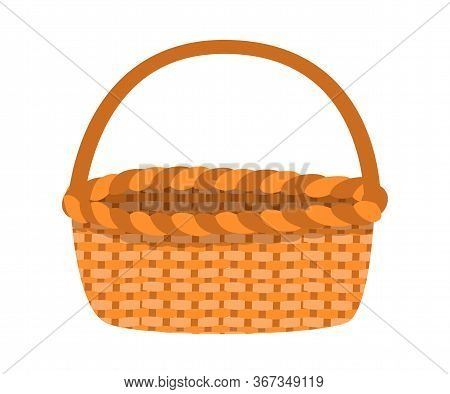 Wicker Basket Flat Vector Illustration. Empty Woven Pottle With Handle Isolated On White Background.