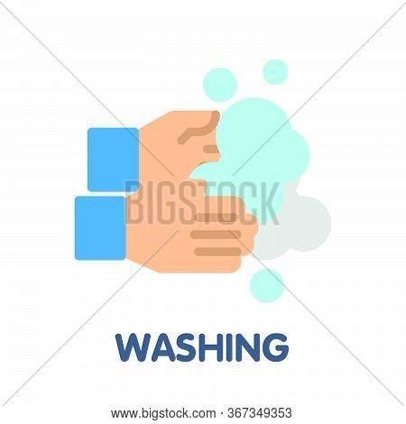 Washing Hand Flat Icon Style Design Illustration On White Background