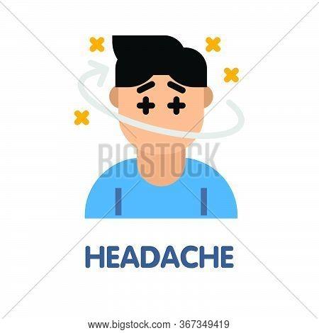 Headache Flat Icon Style Design Illustration On White Background