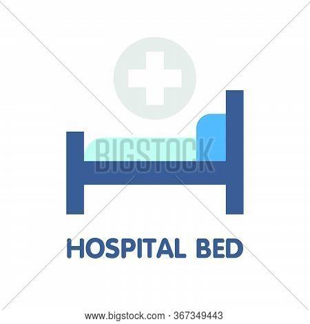 Hospital Bed Flat Icon Style Design Illustration On White Background