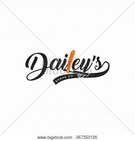 Barbershop Logo Simple Vector. Vector Barber. Retro Shave Salon Badge And Gentleman Haircut Old Sign