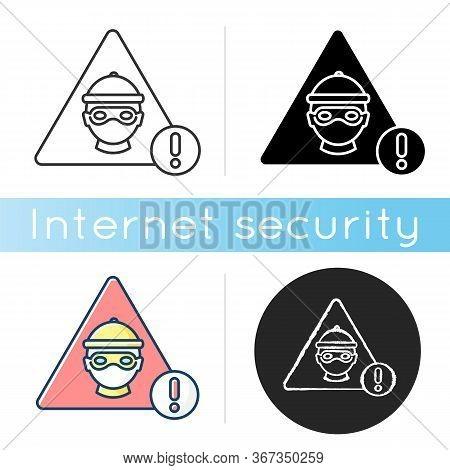 Cyber Crime Icon. Hacker Attack. Internet Fraud Threat. Information Stealing Alert. Data Phishing Wa