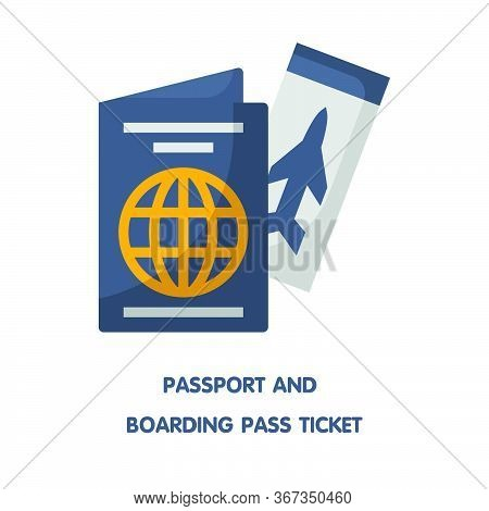 Passport And Boarding Pass Ticket Flat Icon Design