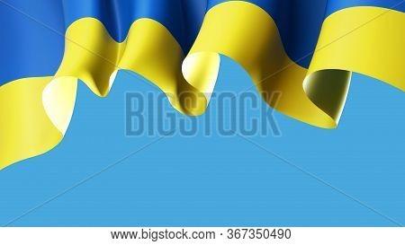 Waving Flag Of Ukraine On Blue Sky For Banner Design. Ukrainian Waving Flag Isolated On Blue Backgro