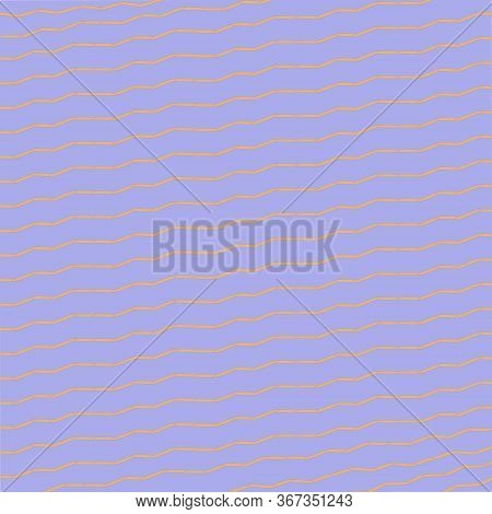 Simple Soft Brown Horizontal Line Zigzag Shapes At The Lavender Background. Abstract Symbols. Geomet