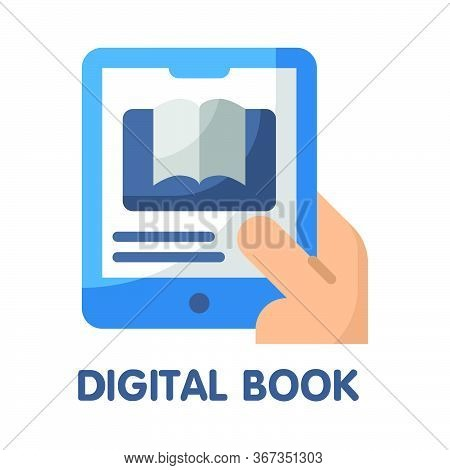 Icon Digital Book In Flat Style Design  Illustration On White Background