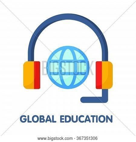 Icon Global Education In Flat Style Design  Illustration On White Background