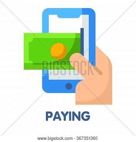 Paying  Flat Style Icon Design  Illustration On White Background